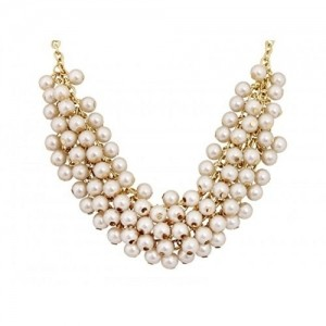buy crunchy fashion embedded parls necklace for girls online