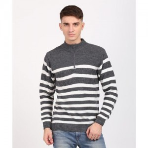 Duke Striped High Neck Casual Men Grey Sweater