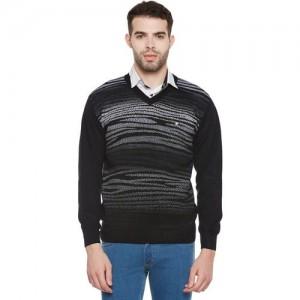 Duke Solid V-neck Casual Men Black Sweater