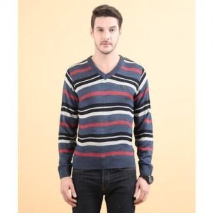 Duke Striped V-neck Casual Men Multicolor Sweater