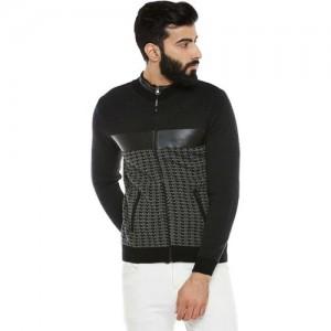 Duke Striped Round Neck Casual Men Black Sweater