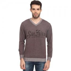 Duke Solid V-neck Casual Men Dark Blue Sweater