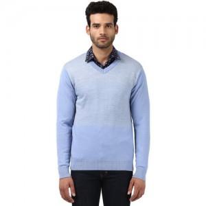 Raymond Men Blue Self-Design Pullover