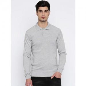 Raymond Men Grey Melange Solid Pullover Sweater