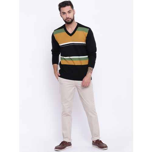 Raymond Men Black & Mustard Yellow Striped Sweater