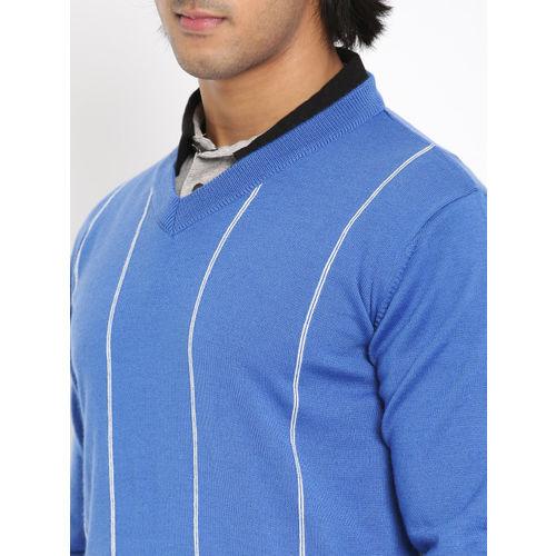 Raymond Men Blue Striped Pullover