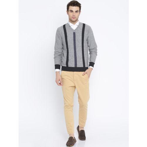 Raymond Men Grey Self Design Woollen Pullover