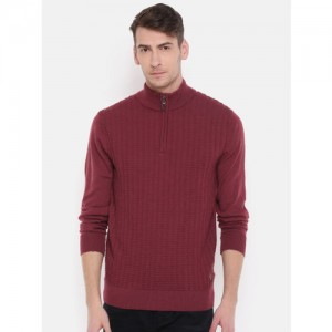 Raymond Men Red Self-Design Pullover Sweater