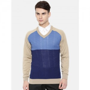 Raymond Men Blue & Beige Colourblocked Pullover