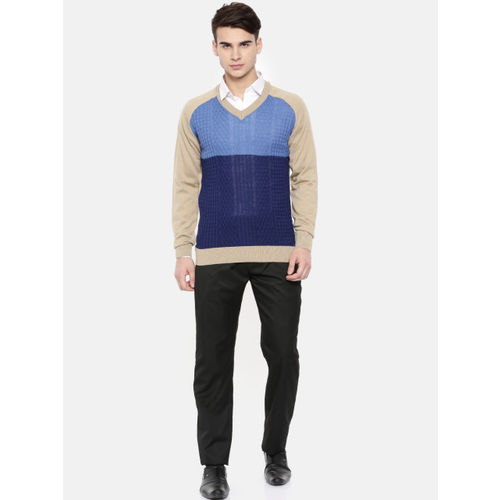 Raymond Men Blue & Beige Colourblocked Pullover