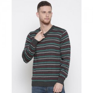 Raymond Men Grey Striped Sweater