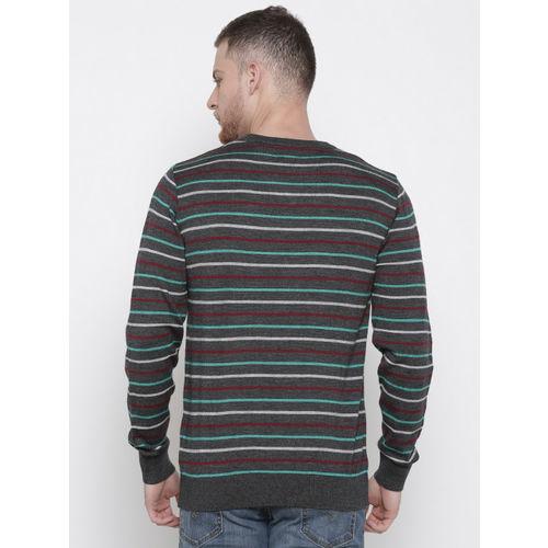 Raymond Men Grey Striped Sweater
