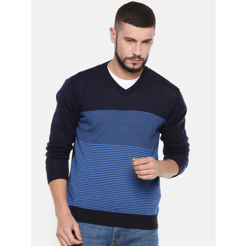 Raymond Men Blue Striped Pullover