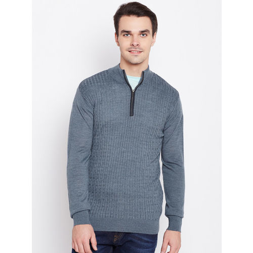 Raymond Men Blue Cable Knit Pullover