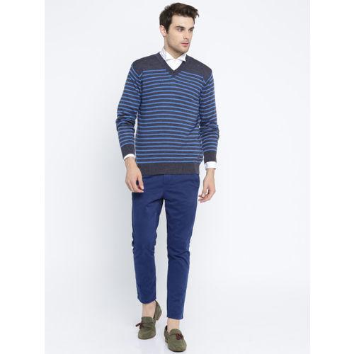 Raymond Men Grey & Blue Striped Woollen Pullover