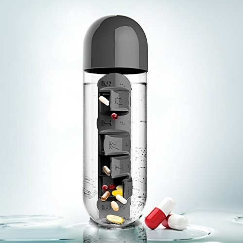 Black Plastic water bottle with built-in daily medicine storage