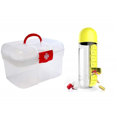 Yellow Plastic water bottle with built-in daily medicine storage