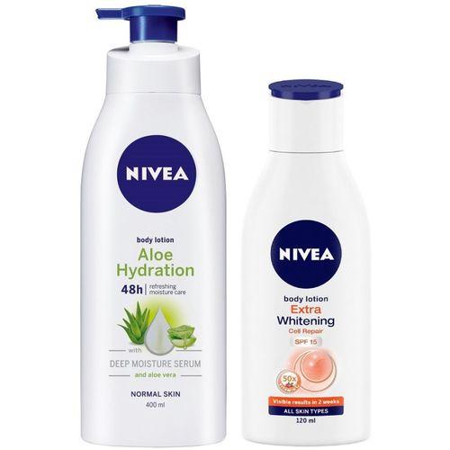Nivea Aloe Body Lotion 400 ml & Extra Whitening SPF 15 lotion 120 ml combo(520 ml)