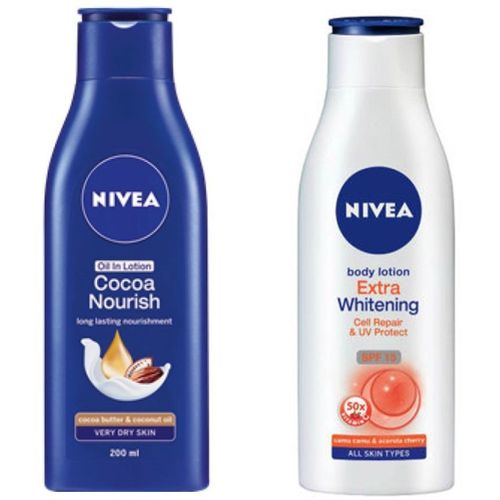Nivea COCOA NOURISH OIL IN LOTION 200 ML+EXTRA WHITENING CELL REPAIR SPF 15 BODY LOTION 200 ML(200 ml)