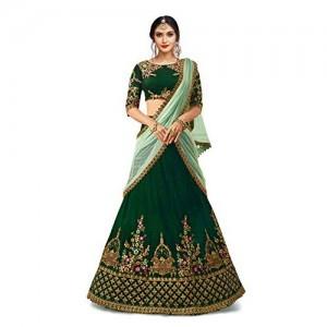 f9badd7ebb3 Buy Chhabra 555 Magenta   Green Embellished Silk Unstitched Lehenga ...
