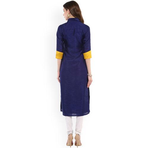 Ives Women Blue Solid Straight Kurta