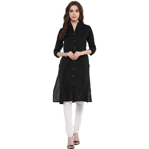 IVES Casual Solid Women's Kurti(Black)