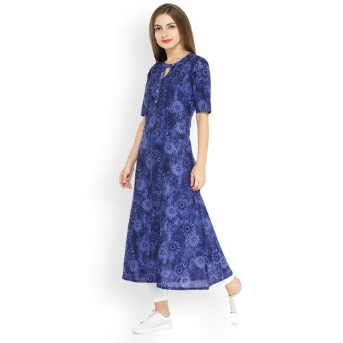 Indibelle Women Blue Printed A-Line Kurta