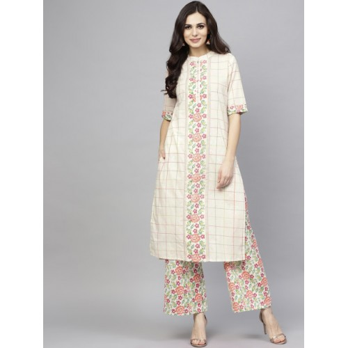 AKS Women White & Pink Cotton Checked Kurta with Palazzos