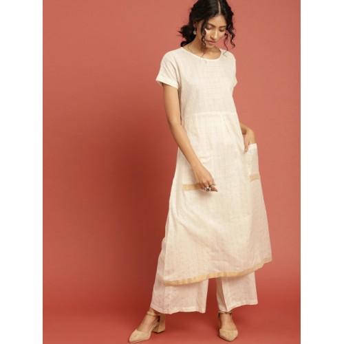 585c6a73f0d Buy Taavi White Cotton Checked Kasavu Kurta   Palazzo online ...