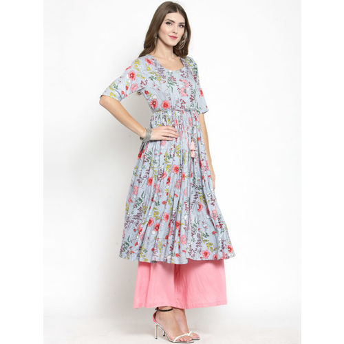Sera Women Blue & Red Printed Anarkali Kurta