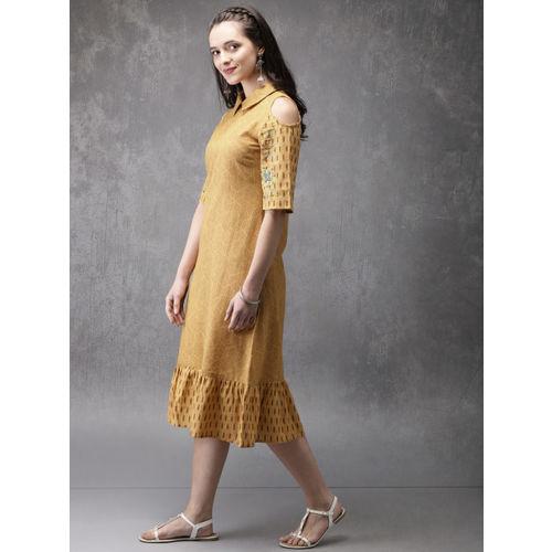 Anouk Women Mustard Yellow & Brown Printed A-Line Kurta