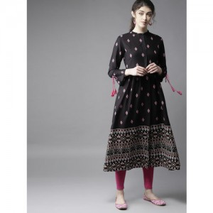 Moda Rapido Black & Pink Printed A-Line Kurta