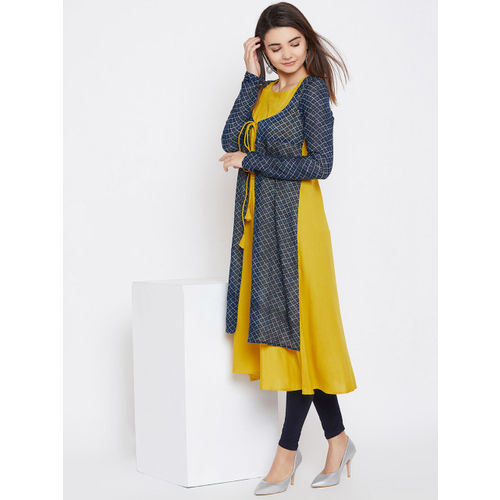 PANIT Women Navy & Mustard Yellow Printed Layered A-Line Kurta