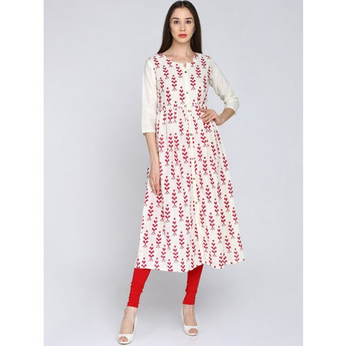 36c7c5a8e8 Buy Soch White & Red Cotton Printed A-Line Kurta online | Looksgud.in