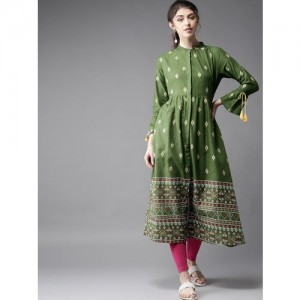 Moda Rapido Green Cotton Printed A-Line Kurta