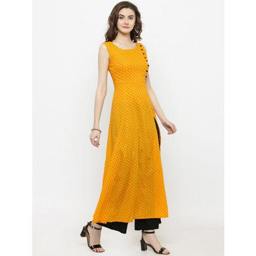 Sera Women Yellow Printed Anarkali Kurta