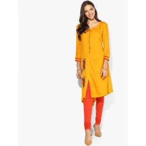 Divina Mustard Embroidered Kurta