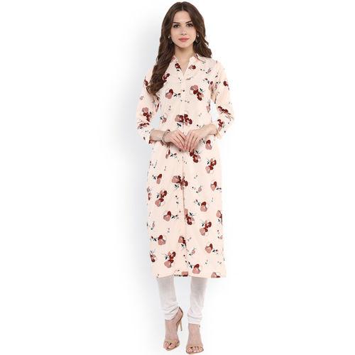 Ives Women Peach-Coloured Floral Print Straight Kurta