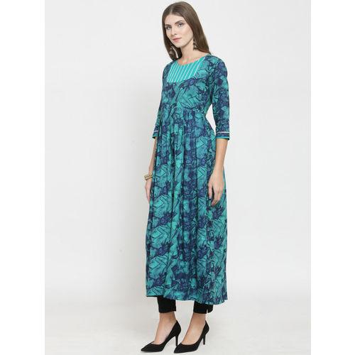 Indibelle Women Turquoise Blue Printed A-Line Kurta