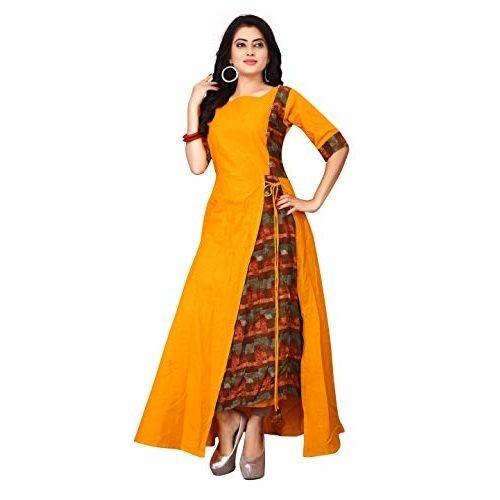 Buy Fkart Long Cotton Kurti For Women Latest Design New Style Kurta For Girls Womens Latest Ethnic Stylish One Piece Side Slit Kurta Salwar Suit For Casual Online Looksgud In
