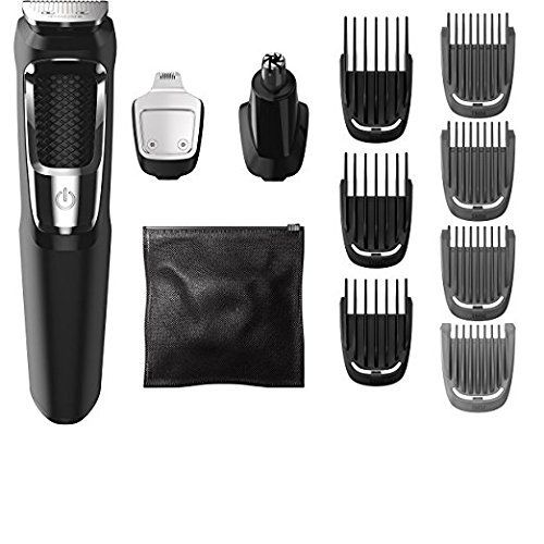 Philips Norelco All-in-One Professional Powerful Lightweight Multigroom Trimmer with 13 attachments Turbo-Powered Full Body Grooming Kit Plus Cube Travel Hard