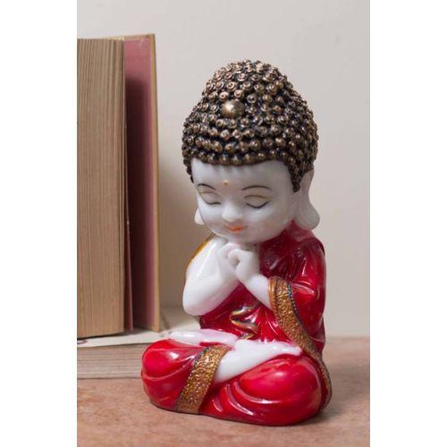 eCraftIndia eCraftIndia Red Child Monk Figurine Decorative Showpiece - 20 cm (Polyresin, Red) Decorative Showpiece - 20 cm(Polyresin)