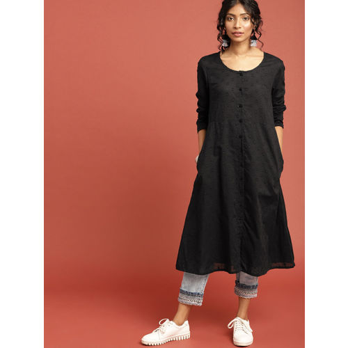 8ffe4445c8f Buy Taavi Women Black South Cotton Woven Legacy A-Line Kurta ...