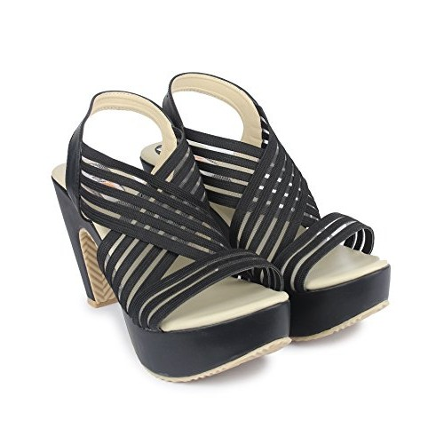 DIGNI Black Synthetic Party Wear Sandals