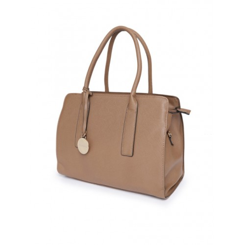 DressBerry Brown Polyurethane Solid Handheld Bag