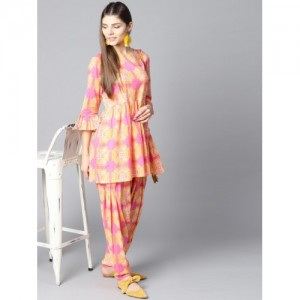 Nayo Yellow & Pink Printed Kurti with Salwar