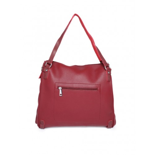 DressBerry Maroon Solid Shoulder Bag With Cut Work