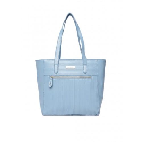 DressBerry Blue Synthetic Striped Shoulder Bag