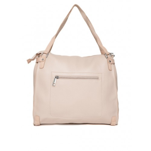 DressBerry Beige Polyurethane Solid Shoulder Bag