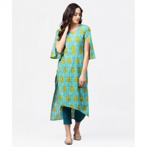 Nayo Blue Cotton Printed Straight Kurta